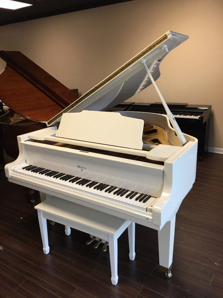 Stunning white weber baby grand piano new it was nearly for Small grand piano